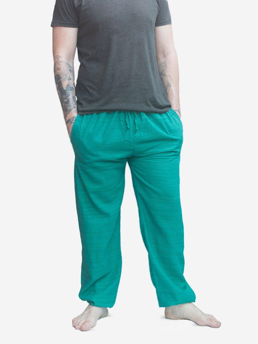 Men's Thai Pants Striped Cotton Pinstripe Joggers Trousers Turquoise Blue