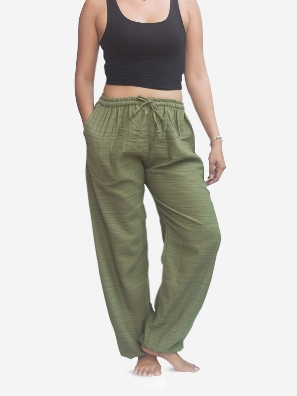 Women's Army Green Pinstripe Thai Cotton Joggers