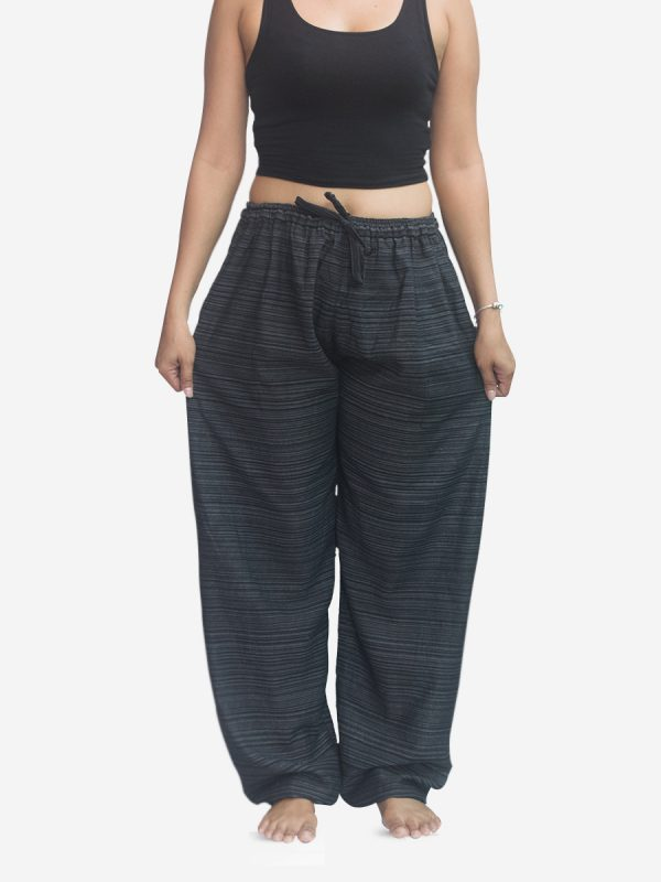 Women's Black Pinstriped Thai Cotton Joggers