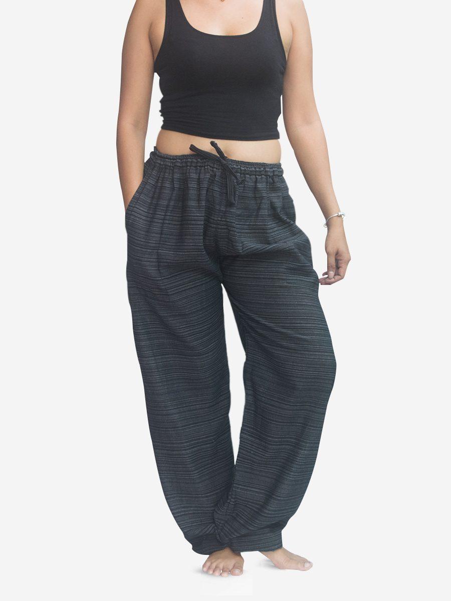 Women's Black Pinstriped Thai Cotton Joggers