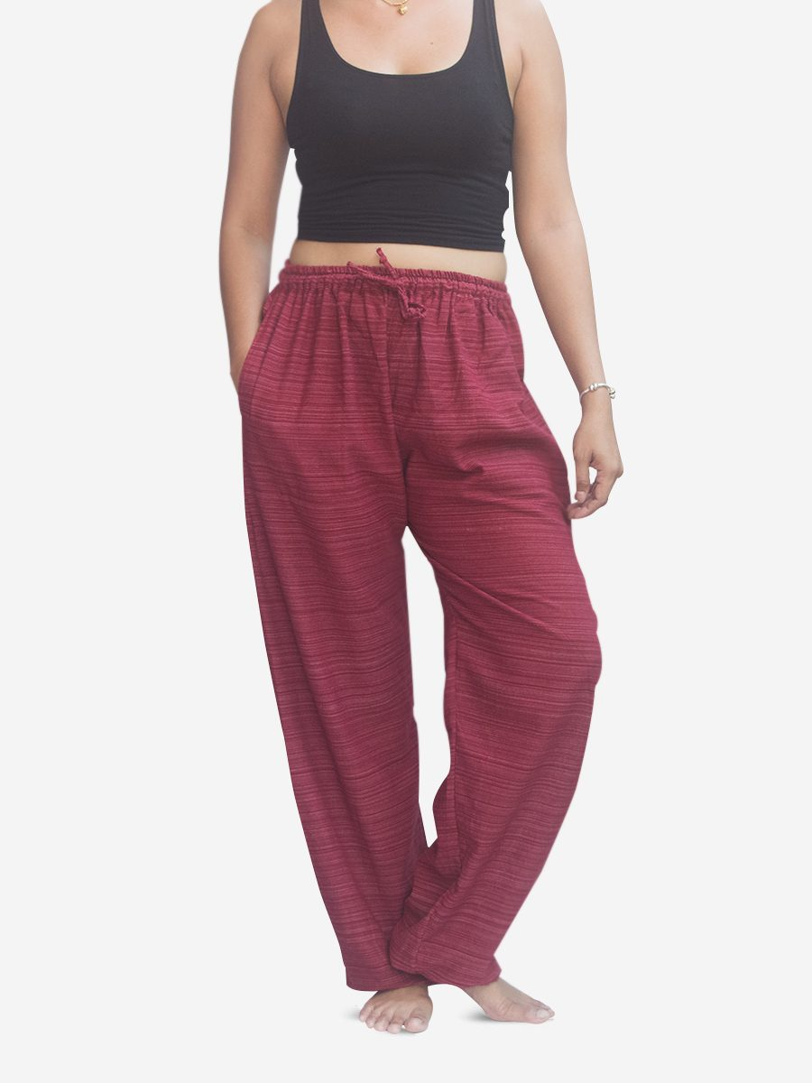 Women's Burgundy Red Thai Cotton Pinstripe Joggers