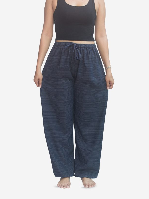 Women's Navy Thai Cotton Pinstripe Jogger Trousers