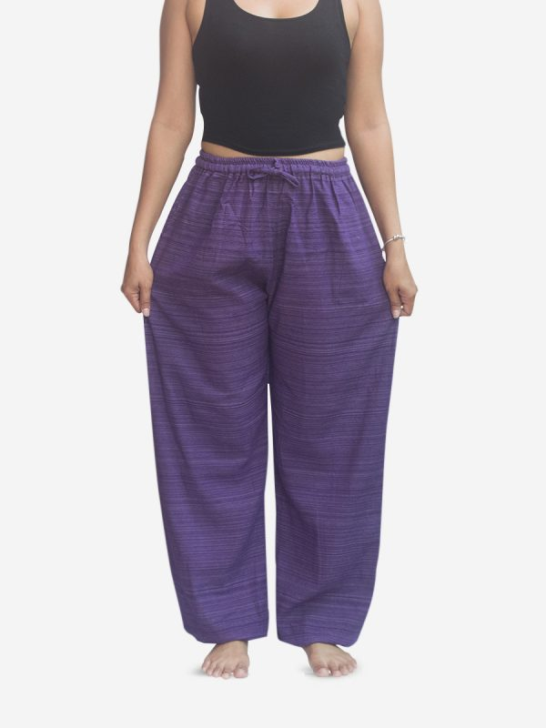 Women's Purple Thai Cotton Pinstripe Joggers