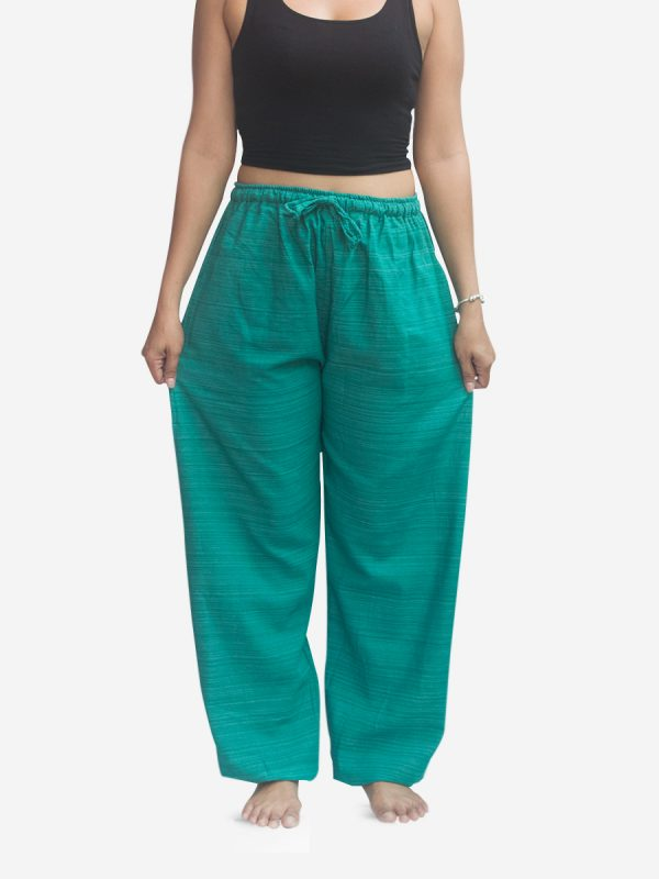 Women's Thai Pants Striped Cotton Pinstripe Joggers Trousers Turquoise Blue