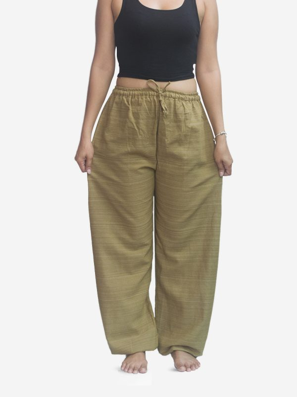 Women's  Pinstriped Sand Thai Cotton Joggers